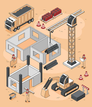 Isometric builders composition of house construction site with bulldozers trucks and pillar crane with human characters vector illustration