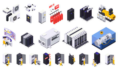 Data center isometric set of isolated surveillance power and cooling system elements with server racks icons vector illustration