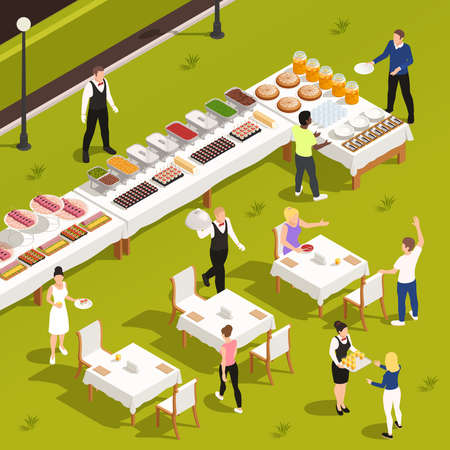 Outdoor catering corporate events private celebrations service with white linen patio garden tables buffet snacks drinks vector illustration