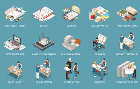 Architect isometric set of isolated icons and images of tools and materials with project and people vector illustration
