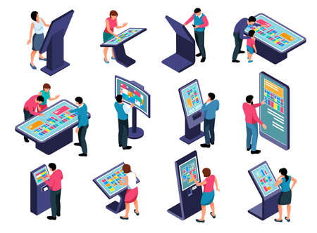 Interactive touch screen information panel users isometric icons set isolated on white background 3d vector illustration Ilustración de vector