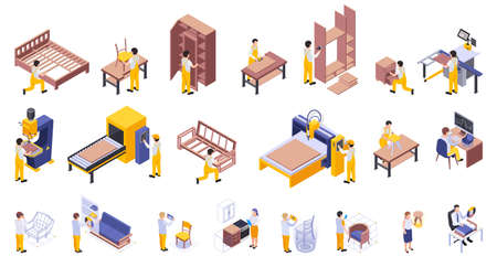 Handcraft Furniture production isometric set of makers engaged in process of design wood pressing sawing drilling polishing surface assembly isolated vector illustration 向量圖像