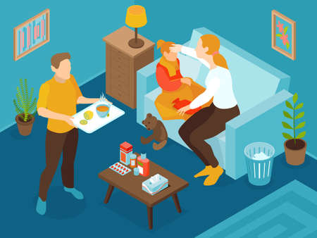 Isometric cold flu virus composition with child has the flu and his parents are helping to heal vector illustration