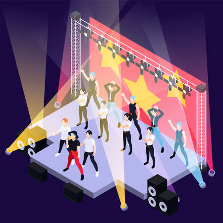 K pop music boys group singing and dancing on outdoor stage isometric background vector illustration Vector Illustration