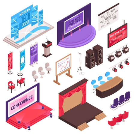 Isometric conference hall stage presentation tribune set with isolated tribunes seats advertising flags and lightning equipment vector illustration