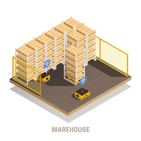 Modern warehouse fully automated computer controlled robotic equipment for cargo storage tracking distribution isometric composition vector illustration Ilustrace