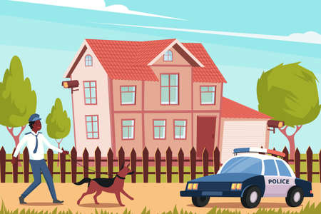 Flat background with police officer dog and car in front of house with installed home security cameras vector illustration