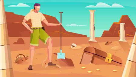 Treasure hunt background with chest digging symbols flat vector illustration