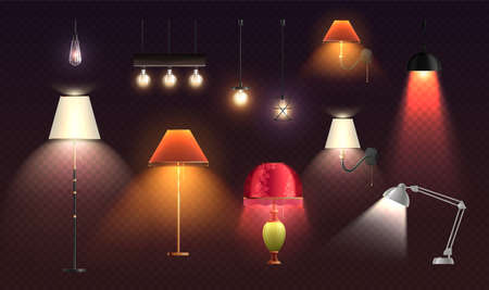 House lighting lamps realistic transparent set of isolated designer lampshades of different colour with light spots vector illustration
