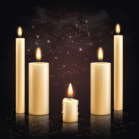 Realistic candles background with set of different candles with flame and light particles on dark background vector illustration