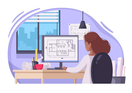 Young long haired woman architect creating construction projects with technical drawings computer software cartoon composition vector illustration