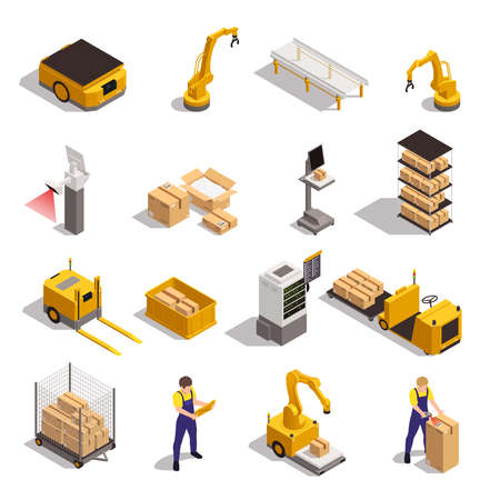 Modern warehouse automated system elements isometric set with robotic arm conveyor storage tracking software isolated vector illustration
