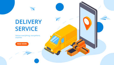 Delivery service web page template with yellow van smartphone location tracker packages isometric horizontal banner vector illustration