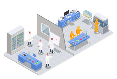 Pharmaceutical production isometric composition with view of research and test rooms with medical products and scientists vector illustration