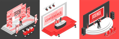 Isometric conference hall design concept with square compositions of stage images with human characters of presenters vector illustration Ilustração