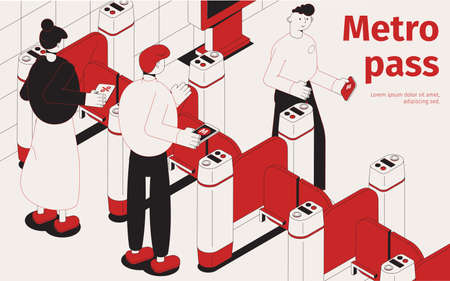 Subway pass isometric composition in black and red color with passengers entering metro station through turnstiles vector illustration Ilustração Vetorial