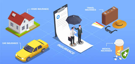 Insurance isometric composition with editable text captions pointing to conceptual images representing various types of insurance vector illustration