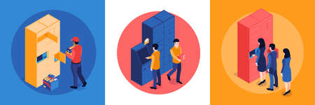 Isometric post terminal design concept with round compositions of postal workers and clients with automated lockers vector illustration Vecteurs