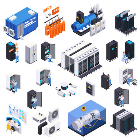 Data center isometric set of isolated icons and images of servers with power units and conditioners vector illustration 向量圖像
