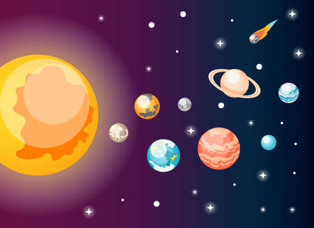 Astronomy isometric composition with view of outer space and images of sun and solar system planets vector illustration