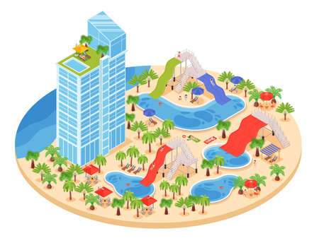 Isometric hotel water park composition with tall building pools with slide and trees on circle platform vector illustration  イラスト・ベクター素材