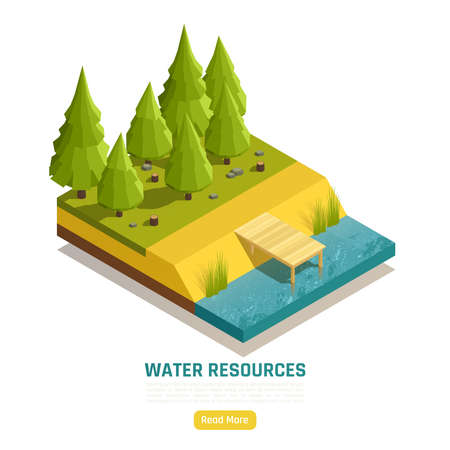 Natural water resources online info isometric composition with pond lake river element at forest edge vector illustration