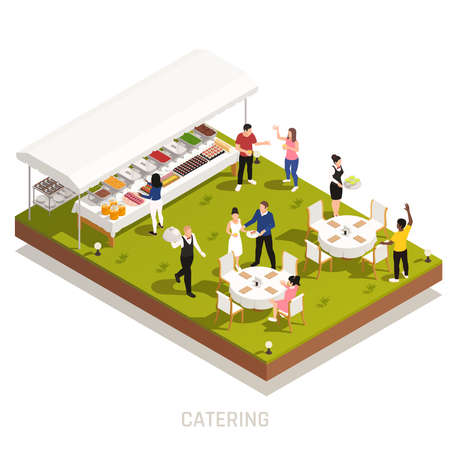 Backyard wedding reception catering with outdoor buffet and waiters serving tables on grassy area isometric vector illustration