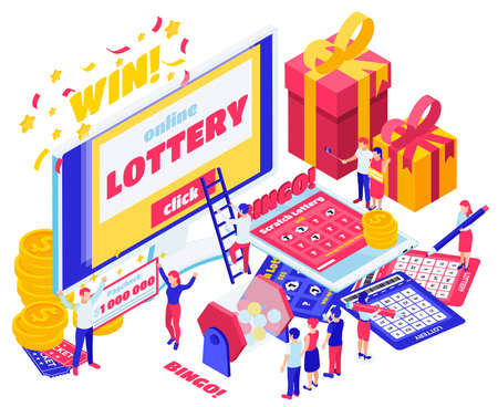 Lottery isometric design concept set of screen with online lottery paycheck for million dollar bingo card vector illustration
