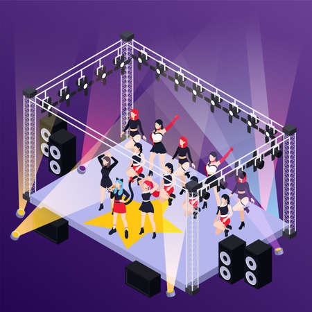 Pop music girls band  performing on street stage outdoor isometric background vector illustration