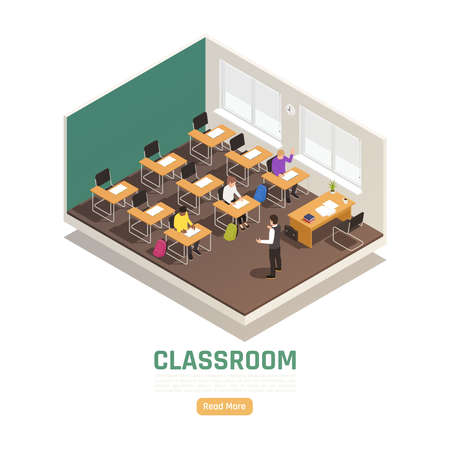 Students and lecturer in high school classroom isometric composition 3d vector illustration 向量圖像