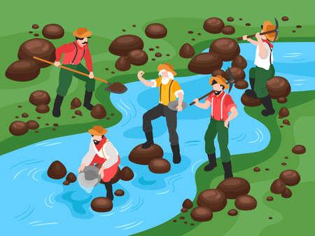 Isometric gold mining composition with view of river gold panning with vintage human characters of miners vector illustration