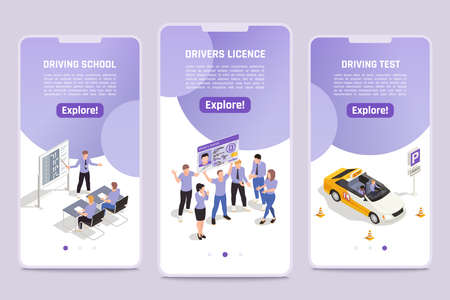 Car driving school simulator with personal instructor improving your skills app 3 isometric smartphone screens vector illustration