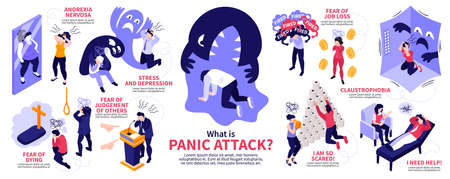Isometric panic attack people infographics with human characters representing various syndromes diseases with editable text captions vector illustration