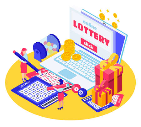 Online lottery isometric composition with laptop gift boxes lotto drum instant lottery cards illustration