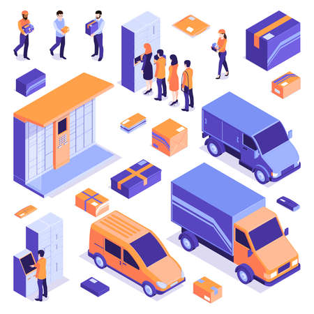 Isometric post terminal electronic locker delivery logistics set with isolated icons images of vans and parcels vector illustration