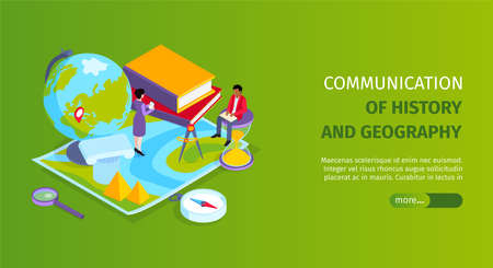 History and geography combined subjects site school education landing page isometric horizontal web banner background vector illustration