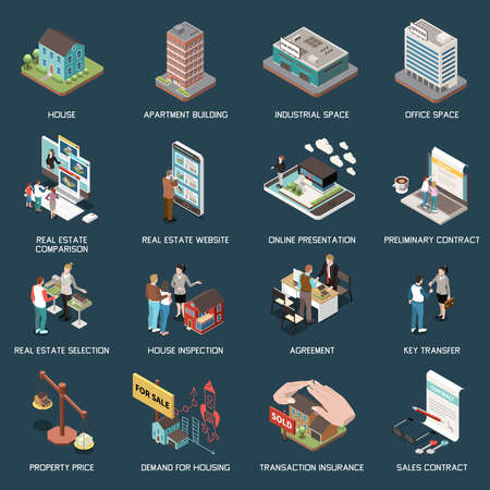 Real estate agency isometric set with images of buildings characters of agents with clients and text vector illustration