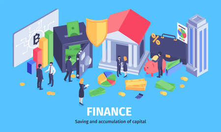 Financial success wealth accumulation isometric composition with saving secure profitable investment analysis advisors electronic wallet vector illustration 向量圖像
