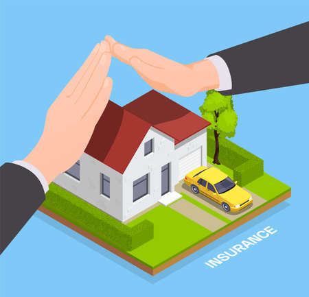 Insurance isometric composition with image of private house with agents hands protecting property with editable text vector illustration
