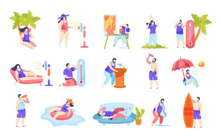 Summertime heatstroke cause symptoms prevention flat icons set with thermometer drinking water using fan bathing vector illustration  イラスト・ベクター素材