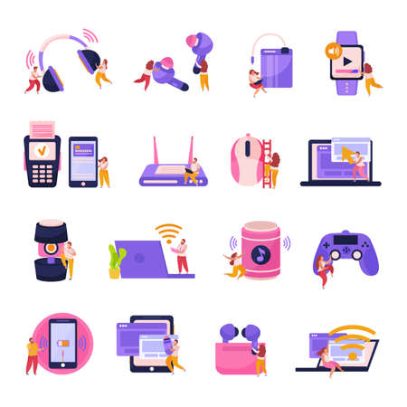 Wireless devices flat icons set with smartphone tablet laptop smart watches game controller earphones isolated vector illustration
