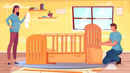 Flat furniture background with pregnant woman and man assembling baby crib vector illustration
