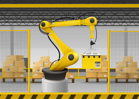 Robotic arm realistic background with logistics and warehouse symbols vector illustration