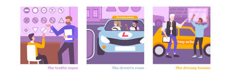 Driving school training set with license symbols flat isolated vector illustration