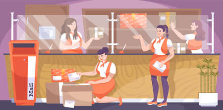 Post office flat composition with female characters of postal workers with mailbox parcels letters and counter vector illustration