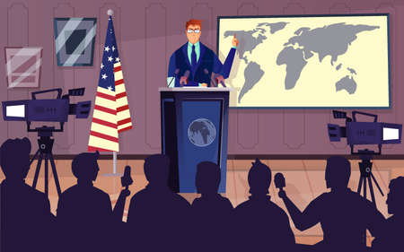Diplomat and politics background with press conference symbols flat vector illustration
