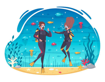 Scuba diving snorkeling couple in wetsuits among colorful fish and corals cartoon composition underwater background vector illustration