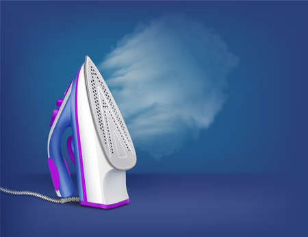 Iron ironing steam realistic composition iron is standing on the table with the steam function on vector illustration
