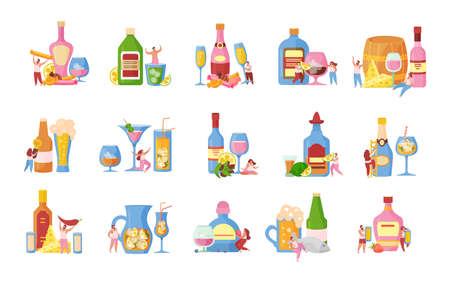 Alcoholic drinks cocktails beer flat icons set with ice cubes fruit juice rum vodka isolated vector illustration  イラスト・ベクター素材