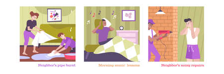 House neighbors conflict set with morning music symbols flat isolated vector illustration